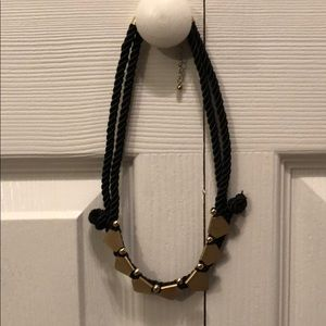 Black rope & gold statement necklace